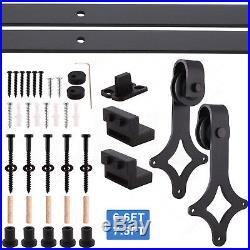 6.6/7.5 FT Black Modern Sliding Barn Door Track Hardware Set Steel Kit Closet