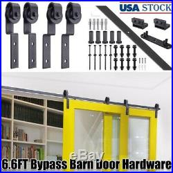 6.6' Bypass Sliding Barn Door Hardware Roller Track Kit for Wood & Concrete Wall
