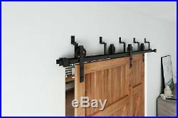 6.6 FT /8FT Spoke Wheel Double Door Bypass Sliding Barn Door Hardware Track Kit