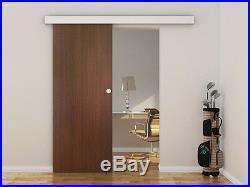 6.6 FT Aluminum Wood Sliding Pocket Door Track Hardware + Rail Cover Closet  Kit