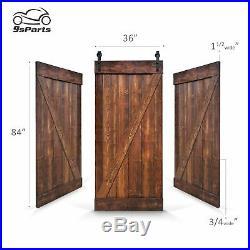 6.6 FT Barn Door DIY Solid Interior Sliding Door with hardware Kit 36x84 Z Style