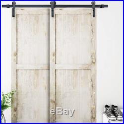 6.6 FT Bypass Sliding Barn Door Hardware Double Wood Doors One-Piece Rail Black