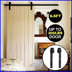 6.6 FT Steel Sliding Barn Wood Door Hardware Track Black Antique Country Style