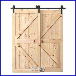 6.6 Feet Bypass Sliding Barn Door Hardware Kit Double Wood Doors One-Piece Rail