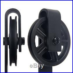 6.6' Sliding Wood Barn Door Hardware Industrial Rolling Wheel Hanging Track Kit