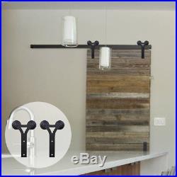 6/8/10FT Steel Sliding Barn Door Hardware Kit Closet Track For Single Wood Door