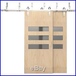 6 FT Modern Bypass Sliding Barn Door Hardware Kit Closet Stainless Steel Silver