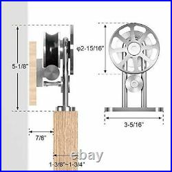 6 FT Top Mount Stainless Steel Sliding Barn Door Hardware Track Kit, One-Piece