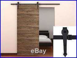 6 Ft Modern Sliding Wood Barn Door Steel Hardware Wall Mount Hanging Track Kit