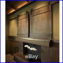 7FT Mini Double Sliding Barn Door Hardware Cabinets Track Kit TV Stand Windows
