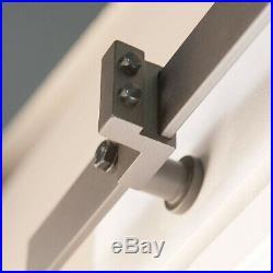 7FT Modern Bypass Sliding Barn Door Hardware Track Kit Stainless Steel Closet
