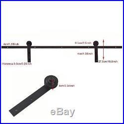 7.5 FT Black Single Wood Door Hardware Sliding Rolling Barn Closet Track Kit Set