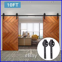 8FT/10FT Sliding Barn Wood Double/Bypass Door Hardware Track Kit Set Spoke Wheel
