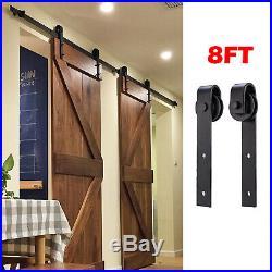 8FT Antique Double Wood Sliding Barn Door Track Hardware Set Kitchen Closet Kit