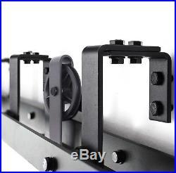 8FT Bypass Double Sliding Barn Door Hardware Black Wood Track Kit Spoke Wheel