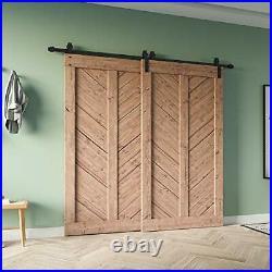 8FT Bypass Heavy Duty Sturdy Sliding Barn Door Hardware Kit Double Door