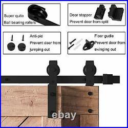8FT Bypass Heavy Duty Sturdy Sliding Barn Door Hardware Kit Double Door 8 Feet