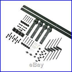8FT Bypass Sliding Barn Double Door Hardware Kit Hanger Bracket Overlap