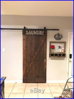 8FT Sliding Single Barn Door Hardware Soft Close Antique Black Rustic J-Shaped