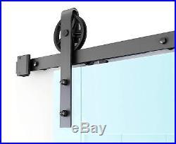 8FT Soft close sliding barn door hardware spoke wheel two side soft close track