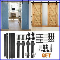 8FT Steel Sliding Barn Door Rollers Hardware Track Kit Double Wood Closet Set US