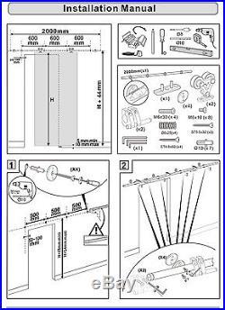 8FT Top mount hollow cut hanger stainless steel sliding barn door track hardware