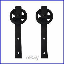 8FT Vintage Strap Industrial Spoke Wheel Sliding Barn Wood Door Hardware Track