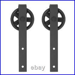 8/10/12/13FT Carbon Steel Sliding Barn Double Door Hardware Track Rail Kit Black