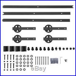 8/10/12/13FT Strap Spoke Wheel Sliding Barn Door Hardware Closet Kit Double Door