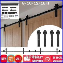 8/10/12/16FT Splicing Regular Double Door Sliding Barn Door Hardware Track Kit