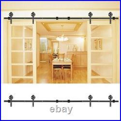 8-13ft Double Sliding Barn Door Hardware Track Kit Double Closet Door-Door