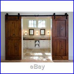8 FT Black Double Wood Door Hardware Sliding Rolling Barn Closet Track Kit Set