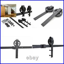 8 FT Vintage Strap Industrial Wheel Steel Sliding Barn Wood Door Hardware 440LB