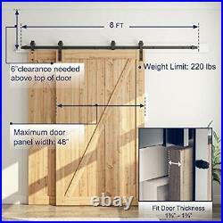 8 Feet Bypass Sliding Barn Door Hardware Kit Single Track Bypass for Double