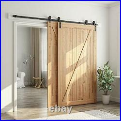 8 Feet Bypass Sliding Barn Door Hardware Kit Single Track Bypass for Double Wo