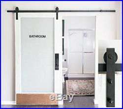 8-Foot Heavy Duty Sliding Barn Door Hardware Kit (Black) Includes Easy
