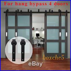 8ft-20ft Bypass Wood Barn Door Hardware Sliding Track Hanger Kit for 4 Doors US