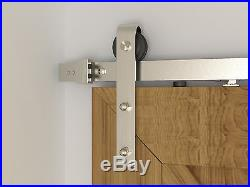 8ft Brushed Nickel Two side Soft Close Sliding Barn Door Hardware