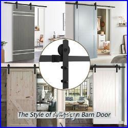 8ft Sliding Barn Door Hardware Kit I Shape Hanger Double Door Fit for 13/8-13/4