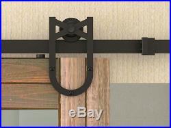 8ft sliding barn door hardware horseshoe wheel barn track kit
