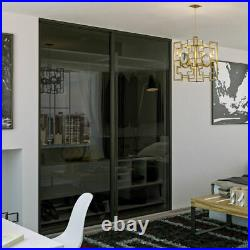 90 x 80 Bypass Closet Doors with Sliding Smoked Glass, Hardware and Tracks