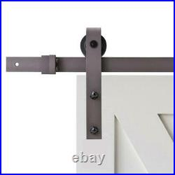 96 in. Antique bronze classic bent strap barn style sliding door track and har