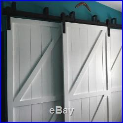 9FT Bypass Sliding Barn Door Hardware Kit Bracket i style Hanger U Bracket Rail