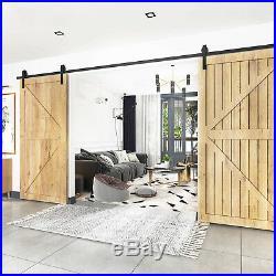 9FT Modern Sliding Door Hardware Kit Track Double Door Panel Fit 1 3/8-1 3/4