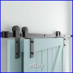 9FT Single Track Bypass Sliding Barn Door Hardware Kit For 2 Doors Easy Install