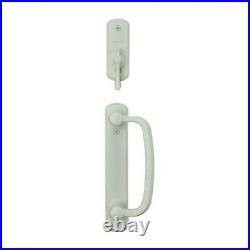 Albany 2-panel gliding patio door hardware set in white sliding lock zinc pull