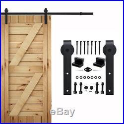 American Vintage Sliding Barn Door Hardware Track J Shape Rollers Hanging Kit
