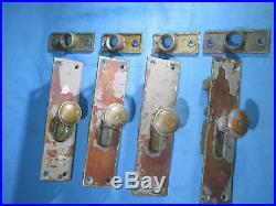 Antique Reading Hardware Brass Flush Slide Door Locks Lot of 4 P1881 USA