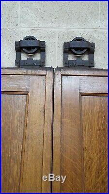 Antique Shaker style White Oak Pocket Doors Sliding Doors with Hardware
