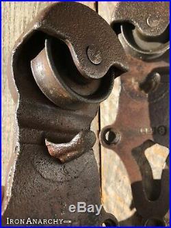 BARN DOOR ROLLERS, Antique Vtg Cast Iron Rolling Sliding Wheel Hanger Hardware